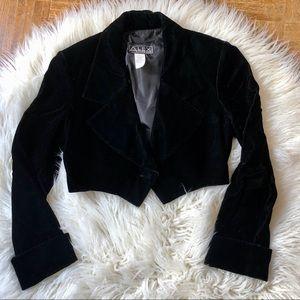 Alex Evenings Dressy Cropped Velvet Blazer Jacket